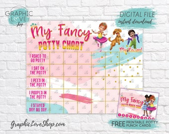Digital Fancy Nancy Potty Training Chart, FREE Punch Cards, Disney | High Resolution JPG File, Instant download NOT Editable, Ready to Print