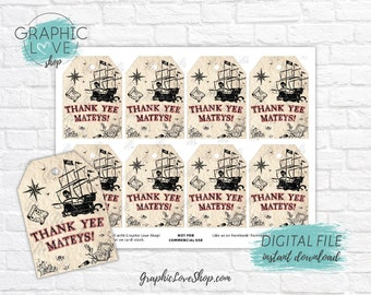 Digital Vintage Pirate Ship Printable Birthday Thank You Favor Tags | High Resolution JPG File, Instant Download, Ready to Print