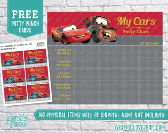 Digital Lightning McQueen Disney Pixar Cars Potty Chart, FREE Punch Cards | High Res JPG File, Instant download NOT Editable, Ready to Print