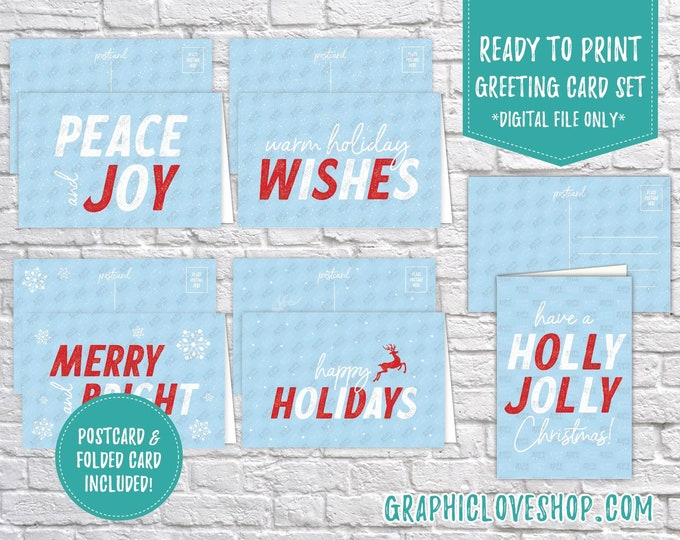 Featured listing image: Digital Modern Retro Blue, White and Red Christmas Cards, Set of 5, Folded & Postcard Included | PDF, Instant Download, Ready to Print