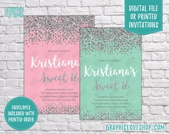 Personalized Glamourous Sweet 16 Mint or Pink, Glitter Birthday Invitation | 4x6 or 5x7, Digital or Printed, FREE US Shipping & Envelopes