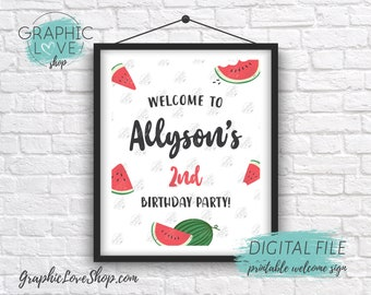 Digital 8x10 Sweet Watermelon Personalized Birthday Party Welcome Sign, Gender Neutral | Printable High Resolution JPG File, Made To Order