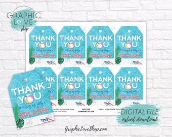 Digital Beach Summer Swimming Pool Birthday Party Printable Thank You Tags | High Resolution JPG File, Instant Download, Ready to Print