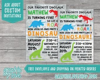Personalized Dinosaur Birthday Invitations | T-Rex, Triceratops, Brachiosaurus, Dino | 4x6 or 5x7, Digital File or Printed, FREE US Shipping