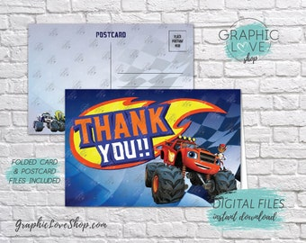Digital File 4x6 Blaze and the Monster Machines Thank You Card, Folded & Postcard Included | High Res JPG, Instant Download, Ready to Print