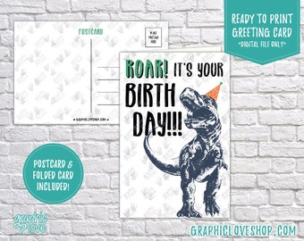 Digital 4x6 Funny T-Rex Dinosaur Birthday Card, Folded & Postcard Included | High Res 300dpi JPG Files, Instant Download, Ready to Print