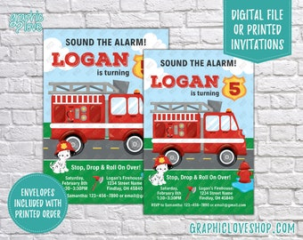 Sound the Alarm, Fire Engine & Dalmatian Personalized Birthday Invitation, Any Age | 4x6 or 5x7, Digital File or Printed, FREE US Shipping