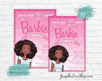 Personalized Pink Sparkle Girly African American Barbie Birthday Invitation Any Age | 4x6 or 5x7 Digital File or Printed FREE US Shipping