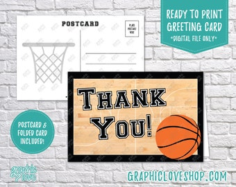 Digital 4x6 Basketball Court Thank You, Folded Card & Postcard Included | High Resolution 300dpi JPG Files, Instant Download, Ready to Print