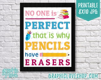 Digital 8x10 No One is Perfect Classroom Decor | Back to School, Teaching Supplies | High Res JPG File, NOT Editable, Ready to Print