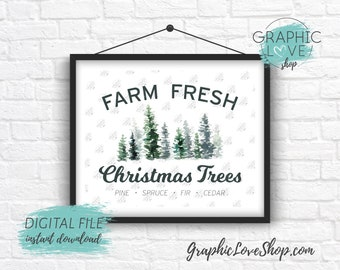 Digital File 8x10 Farm Fresh Watercolor Christmas Trees, Farmhouse Wall Art | High Resolution 300dpi JPG, Instant Download Ready to Print
