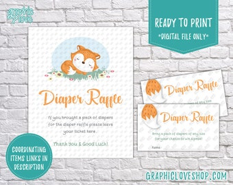 Digital Sweet Little Fox Theme Baby Shower Diaper Raffle Printable Sign and Cards, Coording | PDF File, Instant Download, Ready to Print