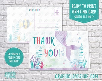 Digital 4x6 Watercolor Under the Sea Mermaid Thank You Card, Folded & Postcard | High Res 300dpi JPG File, Instant Download, Ready to Print