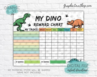 Digital Colorful Dinosaur Printable Reward Chart with Blank Tasks | High Resolution JPG File, Instant download NOT Editable, Ready to Print