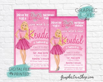Personalized Pink Sparkle Barbie Social Distancing Drive by Birthday Parade Invitation | 4x6 or 5x7 Digital File or Printed FREE US Shipping
