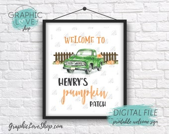 Digital 8x10 Watercolor Fall Autumn Pumpkin Patch Personalized Birthday Party Welcome Sign |Printable High Resolution JPG File Made To Order