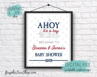 Digital 8x10 Ahoy It's A Boy, Vintage Nautical Personalized Baby Shower Welcome Sign | Printable High Resolution JPG File, Made To Order