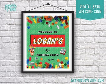 Digital 8x10 Lego Bricks Personalized Birthday Party Welcome Sign, with Age | Printable High Resolution JPG File, Made To Order