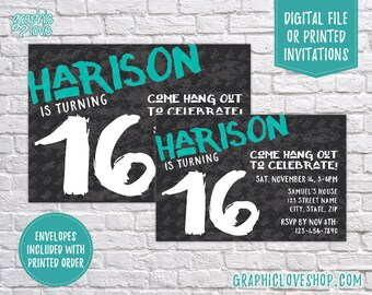 Teen Boy Simple Grunge Birthday Invitation, Any Age, Custom Name Color | 4x6 or 5x7, Digital File or Printed, FREE USA Shipping, Envelopes