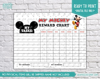 Digital Disney Mickey Mouse Blank Tasks Printable Reward Chart | High Resolution JPG File, Instant download NOT Editable, Ready to Print