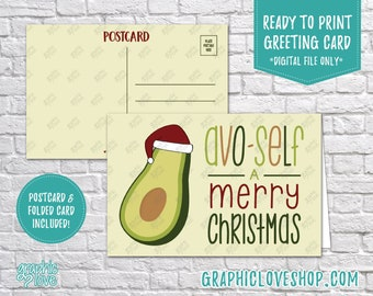 Digital 4x6 Avocado Have Yourself a Merry Christmas Card, Folded & Postcard included | JPG Files, Instant Download, Ready to Print