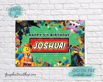 Digital 4x6 Building Bricks Personalized Happy Birthday Card with Name and any age | Printable High Resolution JPG File, Made To Order