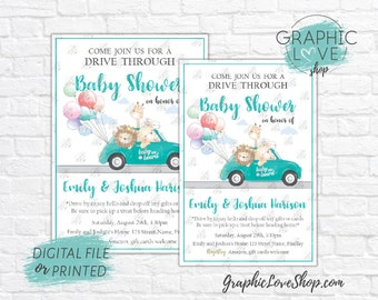 Personalized Cute Animals Drive Through Baby Shower Invitation, Gender Neutral | 4x6 or 5x7, Digital JPG File or Printed, FREE US Shipping