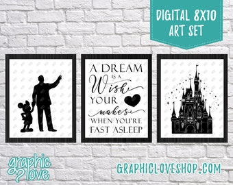 Digital 8x10 Disney, A Dream is a Wish Your Heart Makes, Black & White Art Set of 3 | High Res JPG Files, Instant Download, Ready to Print