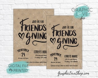 Personalized Kraft Friendsgiving Thanksgiving Dinner Party Invitations | 4x6 or 5x7 Digital File or Printed Invitation, FREE USA Shipping