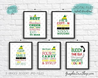 Printable Elf Movie Quotes Digital Typography Art Set of 5, 8x10 High Resolution JPG Files | Instant Download, Ready to Print