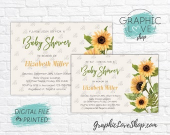 Personalized Watercolor Sunflowers Autumn Baby Shower Invitation, Gender Neutral | 4x6 or 5x7, Digital JPG File or Printed, FREE US Shipping