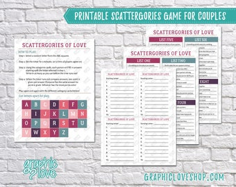 Digital Couples Scattergories Game, 8 Category List Cards | Valentine, Double Date| PDF File, Instant download, NOT Editable, Ready to Print