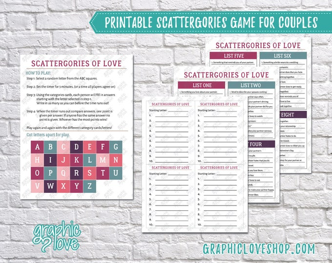 Featured listing image: Digital Couples Scattergories Game, 8 Category List Cards | Valentine, Double Date| PDF File, Instant download, NOT Editable, Ready to Print