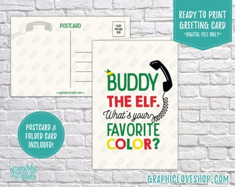 Digital 4x6 Buddy Favorite Color Christmas Holiday Card, Folded & Postcard included | High Res JPG Files, Instant Download, Ready to Print