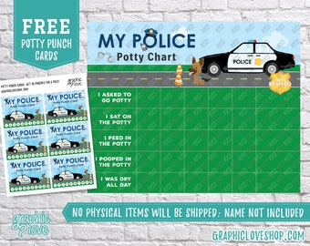 Digital Police Officer Potty Training Chart, FREE Punch Cards | High Resolution JPG Files, Instant download, NOT Editable, Ready to Print