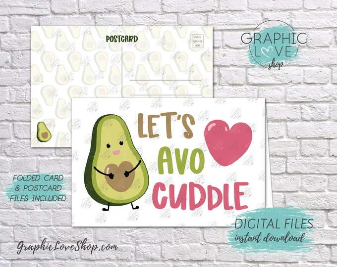Featured listing image: Digital 4x6 Let's AvoCuddle Avocado Valentine's Day Card, Folded & Postcard included | High Res JPG Files, Instant Download, Ready to Print