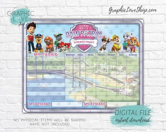 Digital Paw Patrol Girls Blank Printable Reward Chart, Nick Junior | High Resolution JPG File, Instant download NOT Editable, Ready to Print