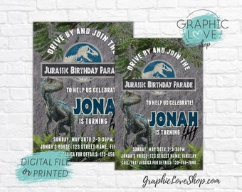 Jurassic World Raptor Personalized Drive By Birthday Parade Invitation, Any Age | 4x6 or 5x7, Digital JPG File or Printed, FREE US Shipping