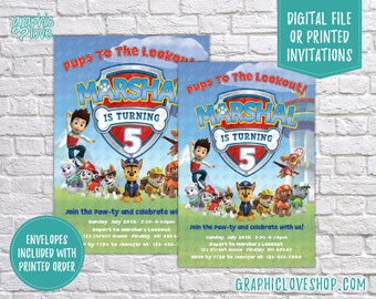 Personalized Paw Patrol Gender Neutral Birthday Invitation, Any Age | 4x6 or 5x7, Digital or Printed, FREE US Shipping & Envelopes