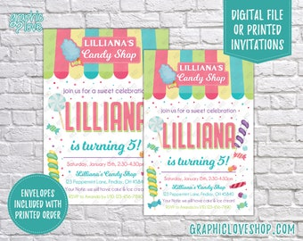 Colorful Candy Shop, Candyland Personalized Birthday Invitation, Any Age | 4x6 or 5x7, Digital File or Printed, FREE US Shipping