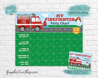 Digital Firefighter Potty Training Chart, FREE Punch Cards | High Resolution JPG Files, Instant download, NOT Editable, Ready to Print