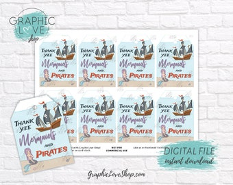 Digital Mermaid and Pirate Boy Girl Printable Birthday Thank You Favor Tags | High Resolution JPG File, Instant Download, Ready to Print