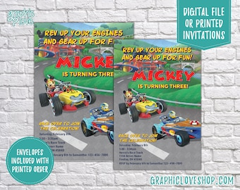 Personalized Mickey Roadster Racers Birthday Invitation, Any Age, Disney Jr | 4x6 or 5x7, Digital or Printed, Envelopes, FREE US Shipping
