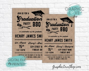 Personalized Graduation BBQ Barbeque Party Invitation/Announcement, Neutral | 4x6 or 5x7, Digital or Printed, FREE US Shipping & Envelopes