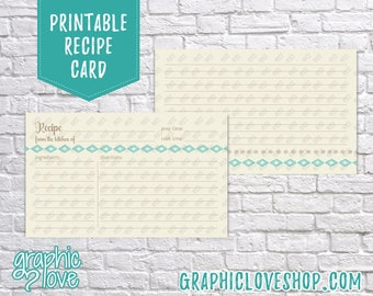 Digital 3x5 Aztec Teal Double Sided Printable Recipe Card   Bridal Shower Activity   High Res JPG Files, Instant Dowload, Ready to Print