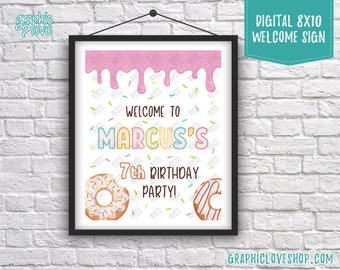Digital 8x10 Sprinkles Donut Personalized Birthday Party Welcome Sign, with Age | Printable High Resolution JPG File, Made To Order
