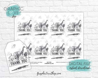 Digital Black and White Zoo Animals Birthday Printable Favor Thank You Tags | High Resolution JPG File, Instant Download, Ready to Print