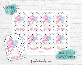 Digital Cute White Kitten Polka Dots Printable Birthday Thank You Tags | High Resolution JPG File, Instant Download, Ready to Print