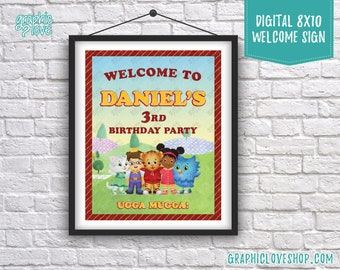 Digital 8x10 Daniel Tiger's Neighborhood Personalized Birthday Party Welcome Sign, Any Age | Printable High Res. JPG File, Made To Order