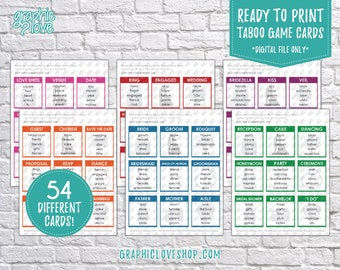 Digital Wedding, Engagement, Bridal Shower Taboo Game 54 Printable Cards | PDF File, Instant download, NOT Editable, Ready to Print